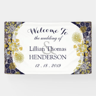 Elegant Floral Lace Silver Gold Wedding Party Banner