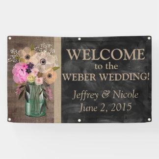 Elegant Floral Mason Jar Wedding Banner