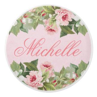 Elegant floral name ceramic knob in pink w/ flower