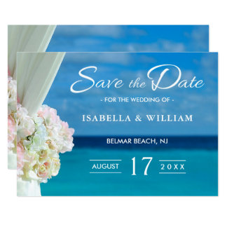 Elegant Floral Ocean Beach Summer Save the Date Card