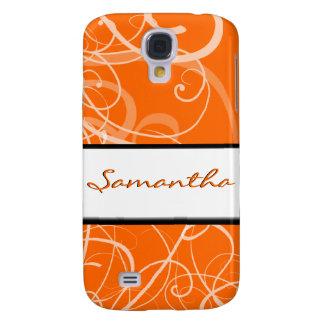Elegant floral orange black swirls galaxy s4 case
