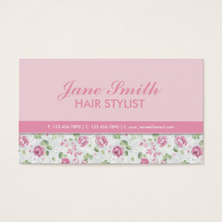 Elegant Floral Pattern Hairdresser Stylist Salon Business Card