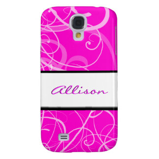 Elegant floral pink black swirls galaxy s4 case