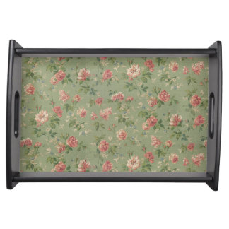 Elegant Floral Print Serving Tray