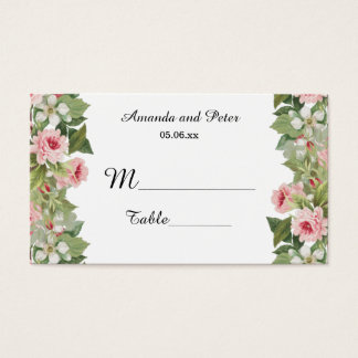 Elegant floral rose place cards