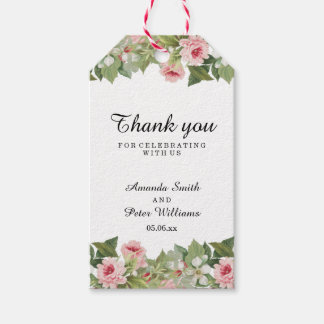 Elegant floral summer wedding thank you gift tags