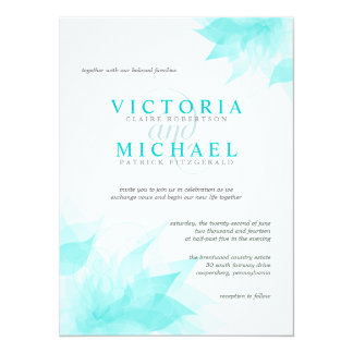 Elegant Floral Wedding Invitation-Teal Blue Ice 14 Cm X 19 Cm Invitation Card
