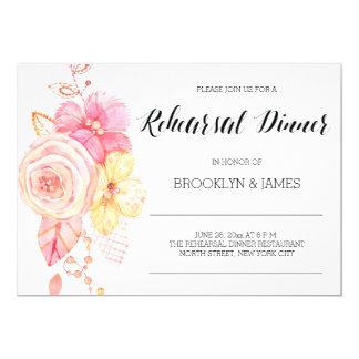 Elegant Floral Wedding Rehearsal Invitation Pearls