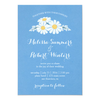 Elegant Floral White Daisies on Blue Wedding Card