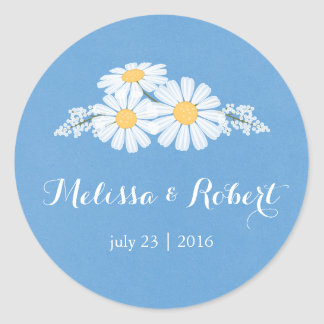 Elegant Floral White Daisies on Blue Wedding Round Sticker