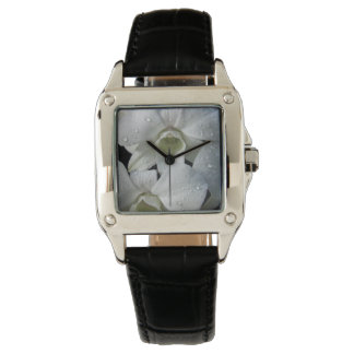Elegant Floral White Orchid Watch