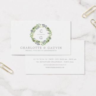 Elegant Floral Wreath Wedding Bridal Fashion Business Card