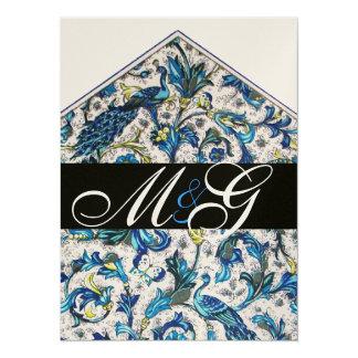 ELEGANT FLORENTINE BLUE GOLD FLORAL MONOGRAM CARD