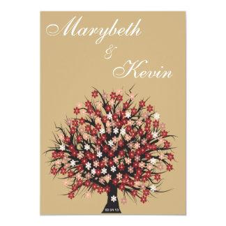 elegant flower tree engagement invitation