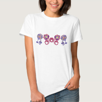 Elegant Flowers Embroidery-Style T-Shirt