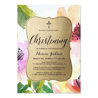 Elegant Flowers Gold | Christening Card