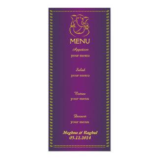Elegant Ganesh | Indian Wedding Purple Menu Card