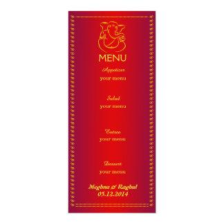 Elegant Ganesh | Indian Wedding Red Menu Card 10 Cm X 24 Cm Invitation Card