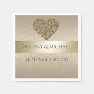 Elegant gentle golden abstract heart wedding disposable serviette