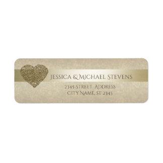 Elegant gentle golden abstract heart wedding return address label