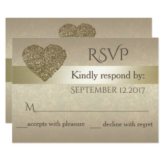 Elegant gentle golden abstract heart wedding  RSPV Card
