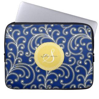 Elegant girly royal blue floral pattern monogram laptop sleeve
