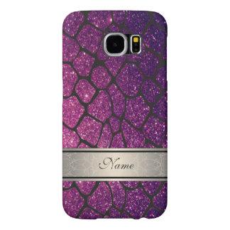 Elegant girly trendy glittery giraffe personalized samsung galaxy s6 cases