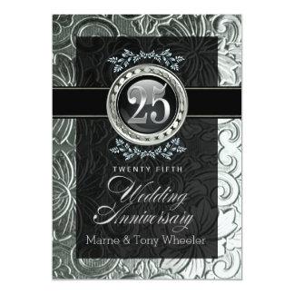 Elegant Glamour Carved Floral 25th Anniversary 13 Cm X 18 Cm Invitation Card