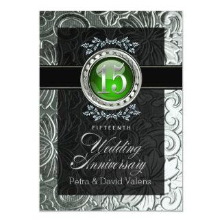 Elegant Glamour Embossed 15th Anniversary 13 Cm X 18 Cm Invitation Card