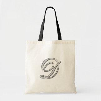 Elegant Glass Monogram Letter D Tote Bag