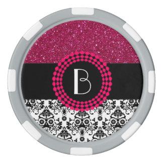 Elegant Glitter and Damask Pattern with Monogram Poker Chips