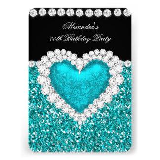 Elegant Glitter Teal Blue Heart Birthday 2 Custom Announcement