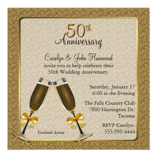 Elegant Gold 50th Wedding Anniversary Personalized Invitation
