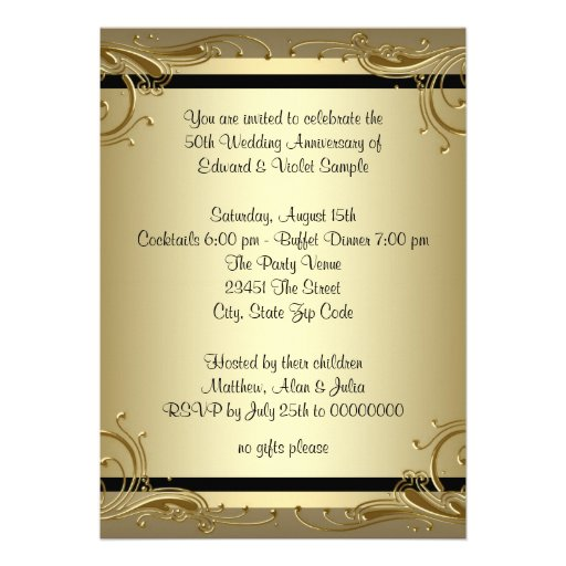 Elegant Gold 50th Wedding Anniversary Party Invitations