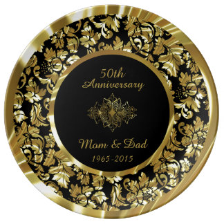 Elegant Gold And Black 50th Wedding Anniversary Plate