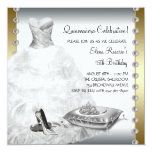 Elegant Gold and White Quinceanera Personalized Announcement