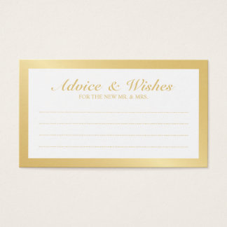 Elegant Gold and White Wedding Advice and Wishes Business Card