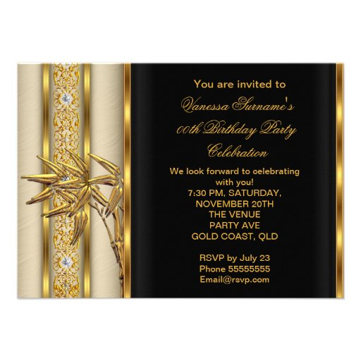 Elegant Gold Black Asian Bamboo Caramel Beige 2 Personalized Invite