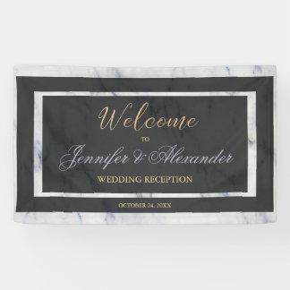 Elegant gold black blue marble welcome wedding banner