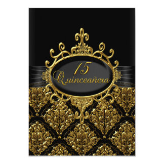 Elegant Gold & Black Damask Quinceanera Invite