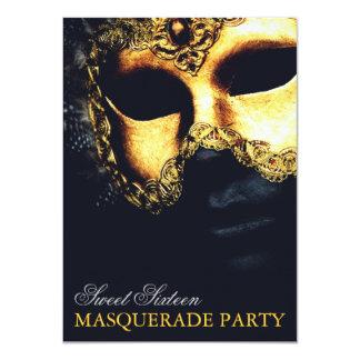 Elegant Gold Black Sweet 16 Masquerade Invitations