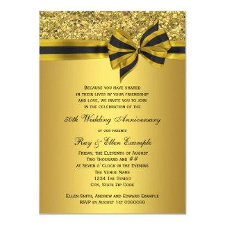 Elegant Gold Bow 50th Anniversary Party 11 Cm X 16 Cm Invitation Card