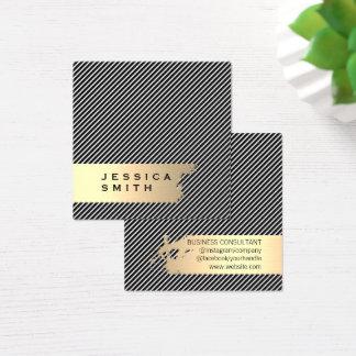 Elegant Gold Brushed Stripes / Black Square Business Card