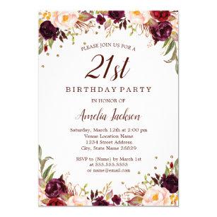 Elegant Gold Burgundy Floral 21st Birthday Party Invitation