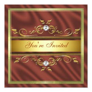 Elegant Gold Burnt Orange Silk/Satin Invitation Te