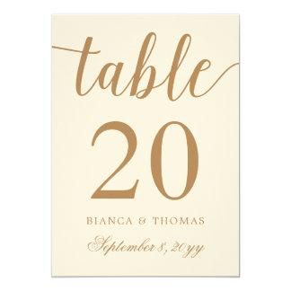 Elegant Gold Calligraphy Wedding Table Number Card