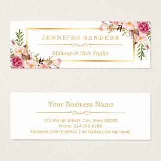 Elegant Gold Chic Floral Makeup Hair Stylist Salon Mini Business Card