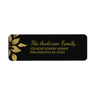 Elegant Gold Christmas Poinsettia Return Address