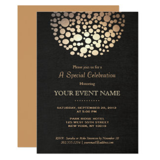 Elegant Gold Circle Sphere Black Linen Look Formal Card