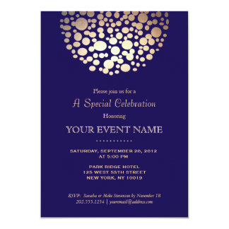 Elegant Gold Circle Sphere Navy Blue Formal 13 Cm X 18 Cm Invitation Card